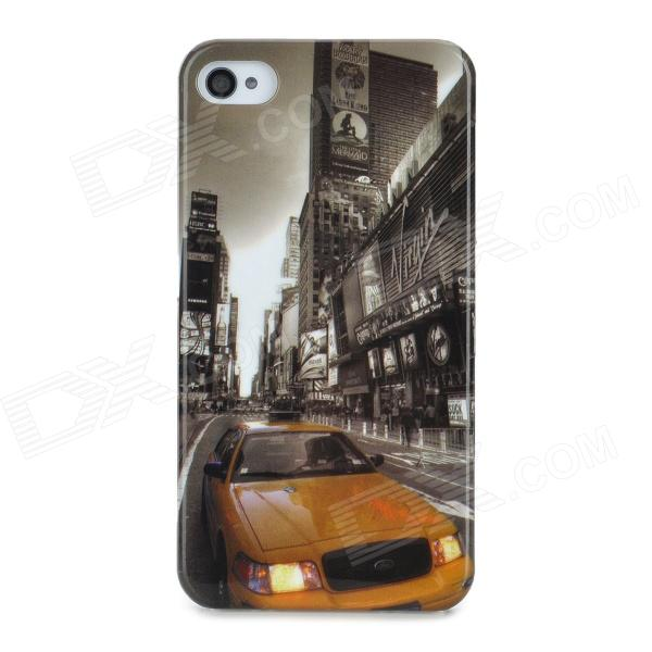 Protective Street Car Pattern Back Case for Iphone 4 / 4S - Golden + Black stylish 3d eagle pattern protective abs pc back case for iphone 4 4s multicolored