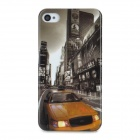 Protective Street Car Pattern Back Case for Iphone 4 / 4S - Golden + Black