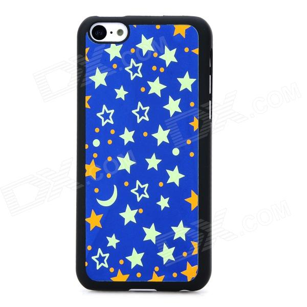 XX-1 Stars Pattern Protective Plastic Glow-in-Dark Back Case for Iphone 5C - Deep Blue glow in the dark skull pattern protective pvc back case for iphone 5 black pink blue green