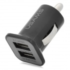WidePath 098 Dual-USB Car Cigarette Lighter Power Adapter - Black (12~24V)