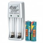 XK-888A Mini US Plugs AA / AAA Battery Charger w/ Batteries - Grey + Silver