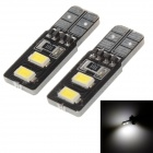 T10 0.8W 28lm 4 x SMD 5730 LED White Light Decoding Car Steering / Tail Light - (2 PCS / DC 12V)