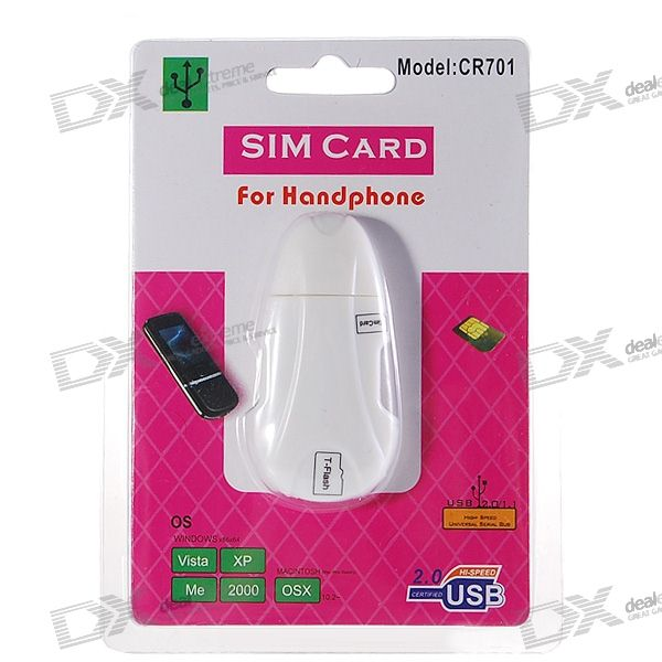 CR701 USB 2.0 SIM/TransFlash SDHC Card Reader