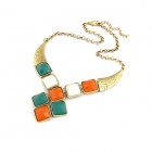 Exaggerated All-match Quadrate Pattern Rhinestone Zinc Alloy Women's Necklace - Multicolored
