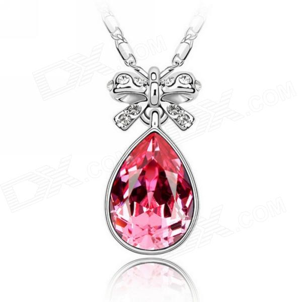 "EQute PSWW142C4 Fashionable Ocean Heart Cherry Pendant Necklace - Red (16"")"