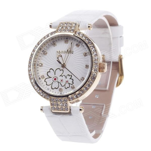 AODASI 4300L Fashionable Women's Quartz Wrist Watch w/ Rhinestone Decoration - White + Golden [zob] arnl2 0101 idec imported from japan and the spring interlocked rocker switch lever arnl2 0202