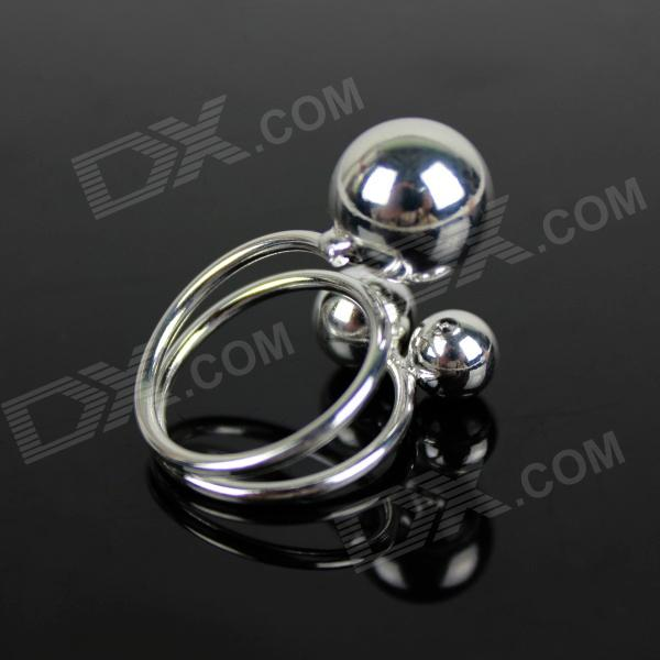 3 Bead Adjustable Ring- Silver