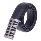 0611 Simple Stylish Men's Cow Split Leather Zinc Alloy Pin Buckle Belt - Black