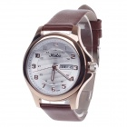 Haibo 6363 Fashionable Dual Calendar Display Women's Quartz Wrist Watch - Brown + Golden (1 x LR626)