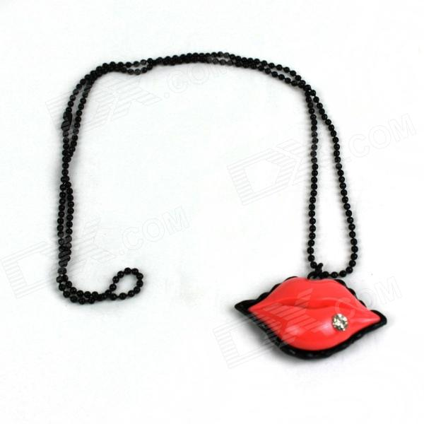 Temptation Pink Lips Style Zinc Alloy Women's Necklace - Black + Pink