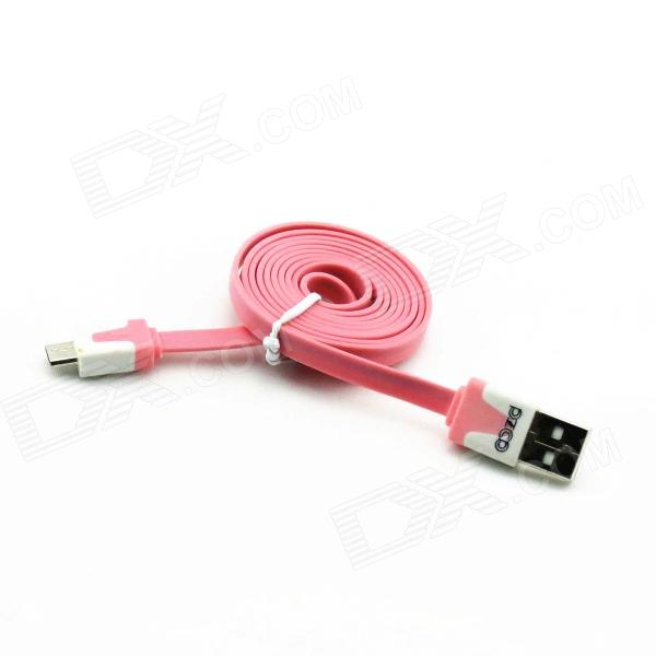 PZCD PZ-42 USB 2.0 Male to Micro USB Male Data Sync Flat Cable for Samsung / HTC + More - Pink pzcd pz 41 usb 2 0 male to micro usb male data sync flat cable for samsung htc more green