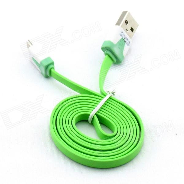 PZCD PZ-41 USB 2.0 Male to Micro USB Male Data Sync Flat Cable for Samsung / HTC + More - Green pzcd pz 41 usb 2 0 male to micro usb male data sync flat cable for samsung htc more green