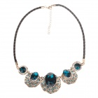 Fashionable Rhinestone Decoration Zinc Alloy Women's Necklace - Black + Blue + Golden
