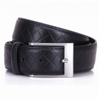 Stylish Cow Split Leather Men's Waist Belt w/ Zinc Alloy Buckle - Black + Silver