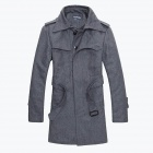 Gusskater B014 Stylish Men's Slim Fit Woolen Wool Coat - Gray (Size-L)