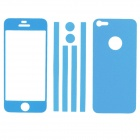 Elonbo Stylish Decorative Full Front Screen Protector + Back Skin Sticker Set for Iphone 5 - Blue