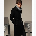 W03 Stylish Men's Woolen Lapel Long Coat - Black (Size-L)