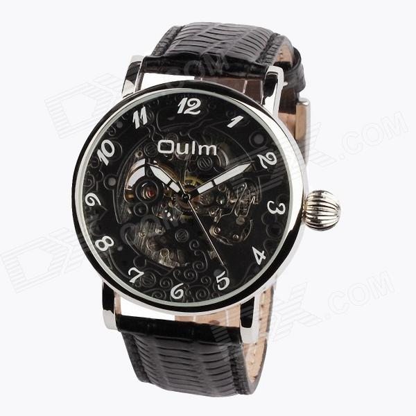 Oulm HP3142 Fashionable Men's Business Semi-hollow Quartz Analog Watch - Black + Silver (1 x 10)