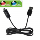 GOLF USB 2.0 Male to Micro USB Male Blue + Red LED Light Data Sync / Charging Cable - Black