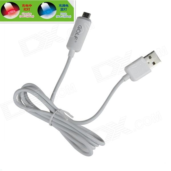 GOLF AYA-123 USB 2.0 Male to Micro USB Male Blue + Red LED Light Data Sync / Charging Cable - White