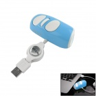 Mini USB 2.0 Wired 1000dpi Mouse - White + Blue (70cm-Cable)