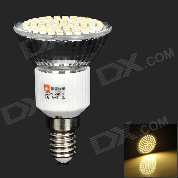 LeXing LX-035 E14 4W 300lm 3500K 80-SMD 3528 LED Warm White Spotlight Bulb (220~240V) lexing lx lzd 1 e14 3w 200lm 3500k 6 smd 5730 led warm white lamp bulb 85 265v