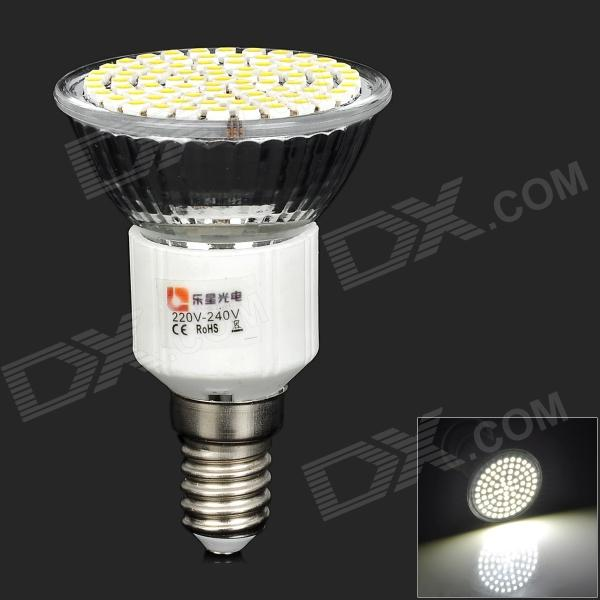 LeXing LX-036 E14 4W 350lm 6000K 80-SMD 3528 LED White Spotlight Bulb (220~240V) lexing lx r7s 2 5w 410lm 7000k 12 5730 smd white light project lamp beige silver ac 85 265v