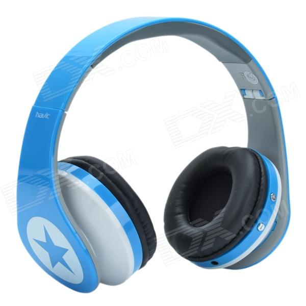HAVIT HV-H99TF Headset Foldable MP3 Player Headphone w/ TF / FM - Blue + White - DXMP3 Players<br>Color White + Blue Built-in Memory No Brand HAVIT Model HV-H99TF Quantity 1 Piece Material ABS + PU Screen Type OthersNO Touch Screen No Memory Card Type TF Max Extended Capacity 32G Audio MP3WMA Video No Tuner Bands Built-in FM radio receiver FM Frequency 76MHz-108MHz Headphone Jack 3.5mm Other Interface Mini USB TF Solt Battery Capacity 600 mAh Working Time 12 Hour Battery Type Li-polymer battery Power Supply USB 5V Loud Speaker Function Yes Lyrics Display No Display Mode MP3 Certification CE FCC Other Features Built-in 3.7V/600mA lithium battery high efficiency energy saving safety; Splendid dynamic and trendy design of earshell; Large battery capacity continuing working period ismore than 12 hours; TF card reader and FM radio function supporting audio format: MP3 / WMA multi-function headphones; Dynamic expansion timbre enhanced active headphone amplifiers; The latest double decoding technology high quality natural music. Packing List 1 x Headphone 1 x Audio cable (3.5mm 156cm) 1 x USB cable (71.5cm)<br>