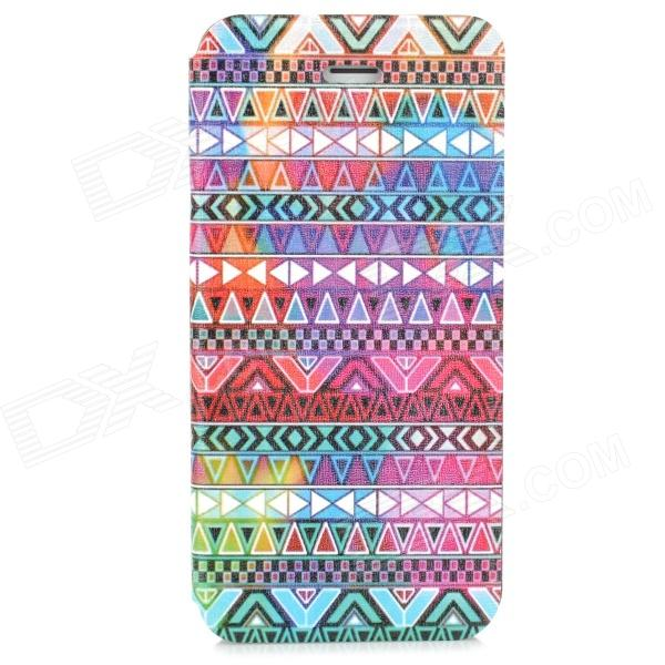 Tribal Ethnic Style Protective PU Leather + Plastic Case for Iphone 5S - Multicolor tribal ethnic style protective pu leather plastic case for iphone 5 deep pink black white