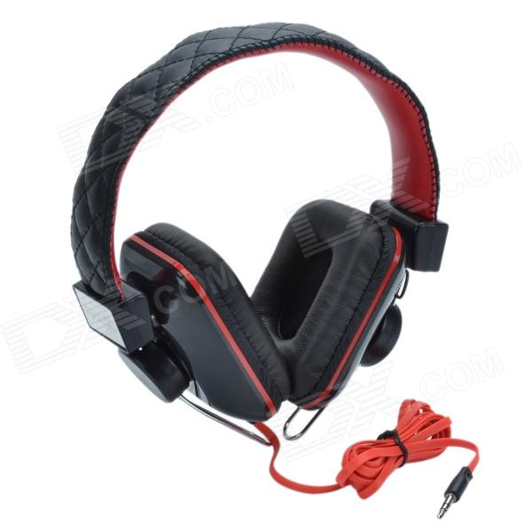 HAVIT HV-H2093D Head-mounted Big Ear Pad Gaming Headphones w/ Invisible Microphone - Black + Red