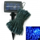 Solar Powered 0.64W 10lm 200-LED Blue Light Garden Christmas Party String Fairy Light - Blue (20.5m)