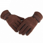 Three Layer Thickening Windproof Fleece Gloves - Brown (Free Size)