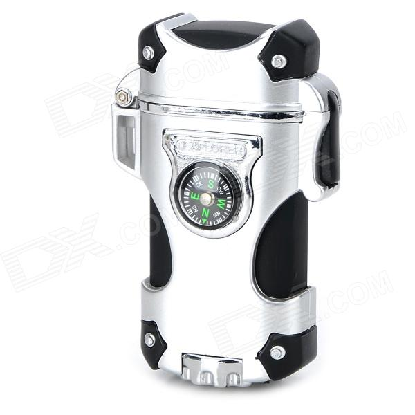 Zinc Alloy + Plastic Dual Blue Flame 2000 Degree Butane Gas Jet Lighter w/ Compass - Silver + Black томаты сортовые сливка