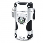 Zinc Alloy + Plastic Dual Blue Flame 2000 Degree Butane Gas Jet Lighter w/ Compass - Silver + Black