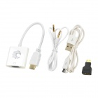 2-in-1 1080P Mini HDMI / HDMI to VGA + 3.5mm AV Adapter w/ Cables - White