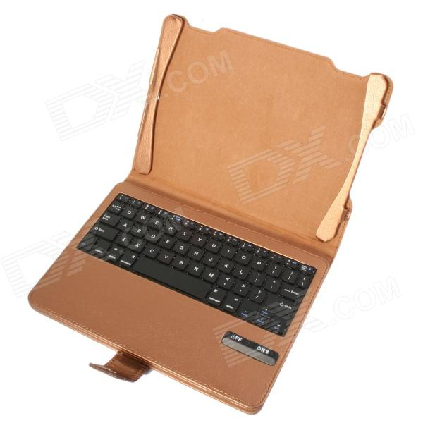 Detachable Bluetooth V3.0 64-Key Keyboard w/ PU Leather Case Cover Stand for Ipad AIR - Golden