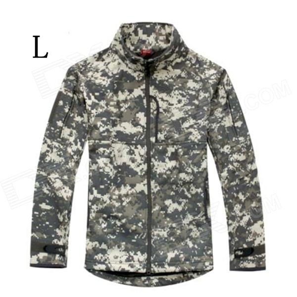 ESDY-0106 Commander Outdoor Sports Waterproof Warm Polyester Jacket for Men - Camouflage (L) outdoor genuine lady pink ski suit camouflage waterproof windproof jacket cotton 1410 018 women wear