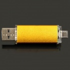 Unique Cellphone-used USB 2.0 to Micro USB Interface Datatraveler USB Disk - Golden (8GB)