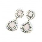Fashionable Pink Rhinestone Zinc Alloy Women's Earrings - Multicolored (Pair)