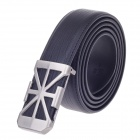 0612 Simple Stylish Men's Cow Split Leather Zinc Alloy Pin Buckle Belt - Black