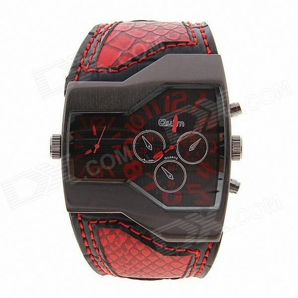 Oulm Universal Fashionable Dual Time Display Analog Quartz Wrist Watch - Red + Black (1 x 10) куртка утепленная phard phard ph007ewvvn35