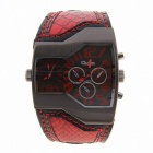 Oulm Universal Fashionable Dual Time Display Analog Quartz Wrist Watch - Red + Black (1 x 10)