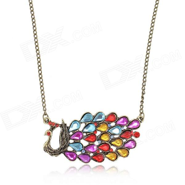 EQute PPEW14C9 Retro Acrylic Peacock Style Zinc Alloy Women's Long Necklace - Multicolored (28