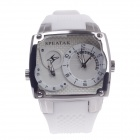 SPEATAK SP9039G Dual Time Display + Simple Calendar Men's Quartz Wrist Watch - White + Silver