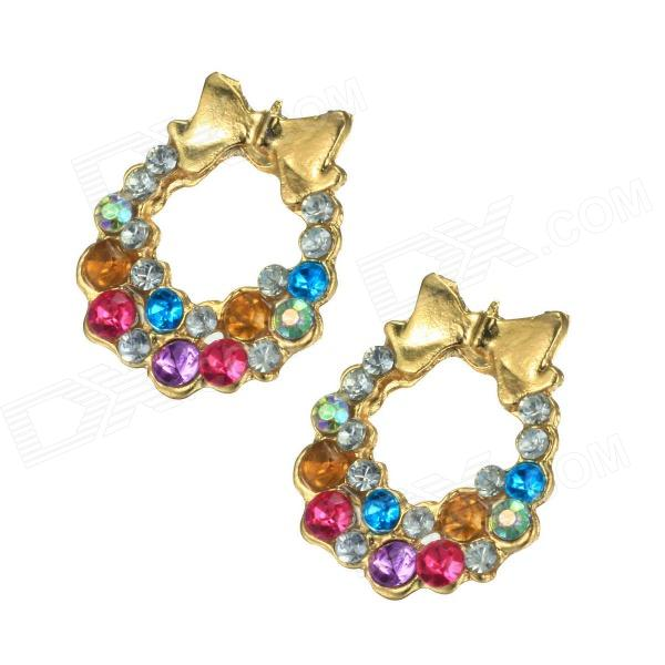 EQute EPEW21C3 Vintage Loop Golden Bowknot Ear Studs - Multicolored (Pair)