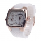 SP9039G Stylish Dual Time Display + Simple Calendar Men's Quartz Wristwatch - White + Rose Gold