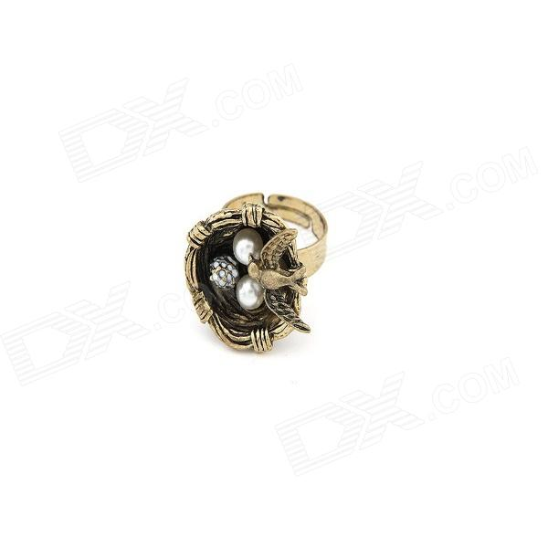 Fashionable Pearl Bird's Nest Style Women's Ring - Bronze + White
