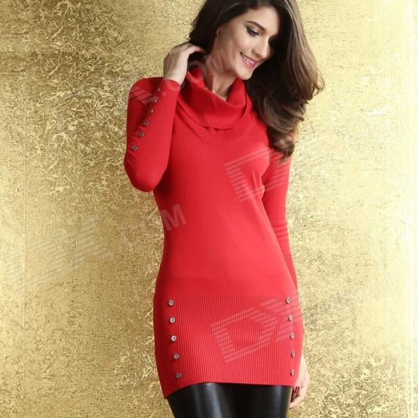 52099af2013 Stylish Women s Cowl Neck Buttoned Sweater Dress - Red (Size-M ...