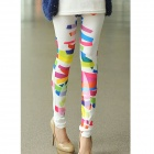 Stretch Irregular Pattern Printed Leggings for Women - Multicolored (Size-M)