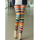 Stylish Chromatic Stripe Printed Leggings for Women - Multicolored (Size-M)
